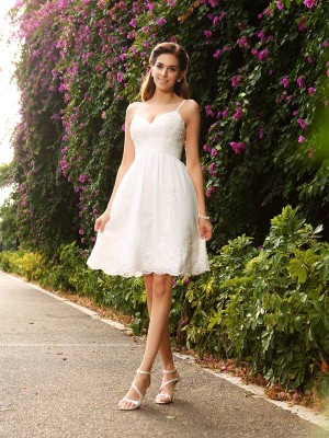 Fashion A-Line/Princess Straps Applique Spaghetti Sleeveless Short Lace Wedding Dresses