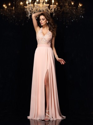 Stylish A-Line/Princess Lace Sleeveless Halter Long Chiffon Dresses
