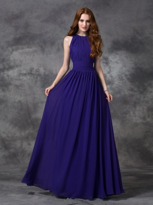 Fashion A-line/Princess Ruched Sleeveless Jewel Long Chiffon Bridesmaid Dresses