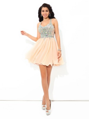 Stylish A-Line/Princess Rhinestone Sleeveless Straps Short Chiffon Cocktail Dresses