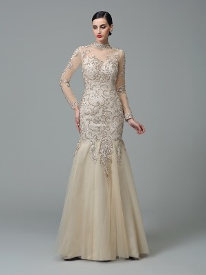 Fashion Sheath/Column Applique Long Sleeves High Neck Long Net Dresses