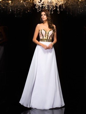 Fashion A-Line/Princess Sequin Sleeveless Sweetheart Long Chiffon Dresses