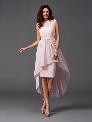Fashion A-Line/Princess Sash/Ribbon/Belt Sleeveless Scoop High Low Chiffon Bridesmaid Dresses