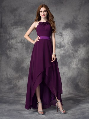 Fashion A-line/Princess Ruffles Sleeveless Halter High Low Chiffon Bridesmaid Dresses