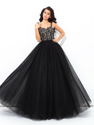 Stylish Ball Gown Applique Sleeveless Straps Long Net Quinceanera Dresses