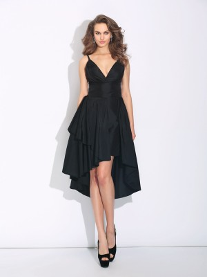 Fashion A-Line/Princess Straps Ruffles Spaghetti Sleeveless High Low Taffeta Dresses