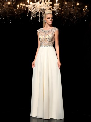 Stylish A-Line/Princess Rhinestone Sleeveless SheerNeck Long Chiffon Dresses