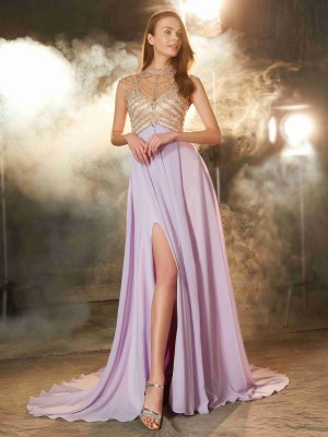 Fashion A-Line/Princess Sleeveless Sweep/Brush High Neck Train Crystal Chiffon Dresses