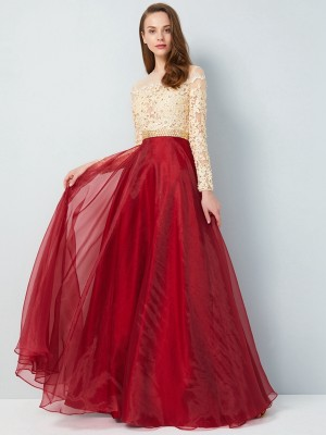 Stylish A-Line/Princess Floor-Length Long Sleeves SheerNeck Applique Organza Dresses