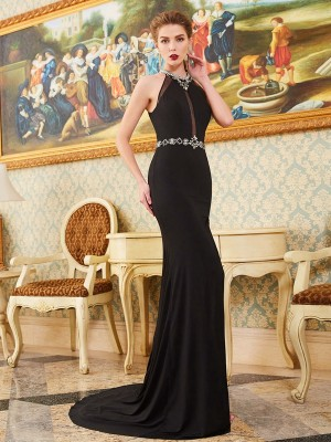 Stylish Sheath/Column Sleeveless Sweep/Brush High Neck Train Beading Spandex Dresses