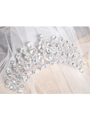 Elegant Alloy Wedding Headpieces With Clear Crystals