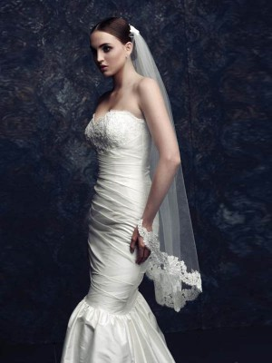 Fashion Trends Elegant Tulle With Lace Wedding Veils