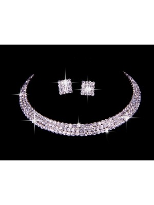 Gorgeous Great Czech Rhinestones Wedding Necklaces Earrings Set