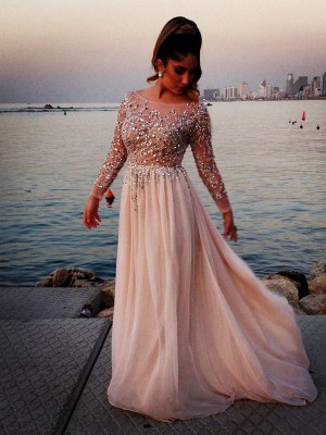 Fashion Long Sleeves Bateau Beading A-line/Princess Floor-length Chiffon Dress