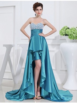Fashion A-Line/Princess Sweetheart High Beading Low Sleeveless Taffeta Dresses