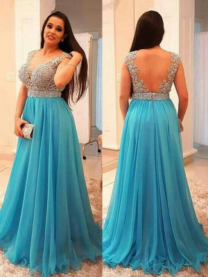 A-Line/Princess V-neck Sleeveless Beading Sweep/Brush Train Chiffon Plus Size Dresses