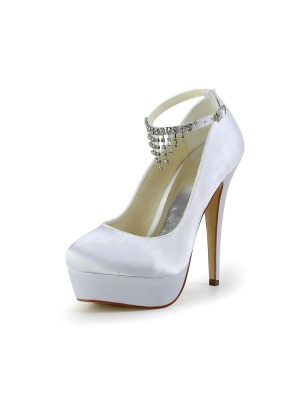 The Most Trendy Women's Nice Satin Stiletto Heel Closed Toe With Rhinestone White Wedding Shoes