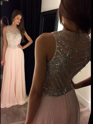 Stylish A-Line/Princess Sleeveless Chiffon Scoop Crystal Sweep/Brush Train Dresses