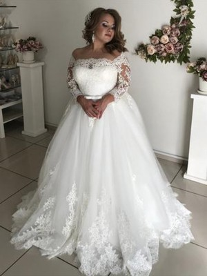 Fashion A-Line Off-the-Shoulder Long Sleeves Sweep/Brush Train Lace Tulle Wedding Dresses
