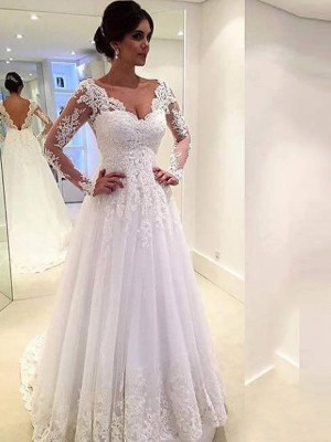 Fashion Ball Gown Long Sleeves Lace V-neck Sweep/Brush Train Tulle Wedding Dresses