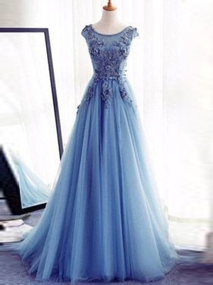 Stylish Ball Gown Jewel Sweep Train Sleeveless Applique Tulle Dresses