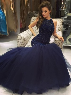 Fashion Trumpet/Mermaid Floor-Length Jewel Sleeveless Tulle Beading Dresses