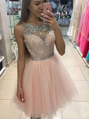 Stylish A-Line/Princess Scoop Beading Sleeveless Short/Mini Tulle Dresses
