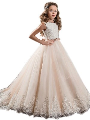 Fashion Ball Gown Sweep Train Lace Sleeveless Jewel Tulle Flower Girl Dresses