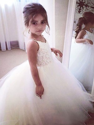 Stylish Ball Gown Floor-Length Lace Sleeveless Jewel Tulle Flower Girl Dresses