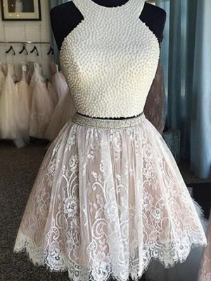 Fashion A-Line/Princess Halter Pearls Sleeveless Short/Mini Lace Two Piece Dresses
