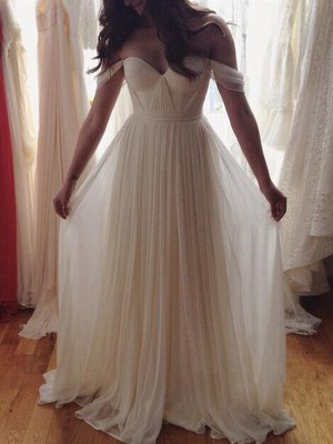 Fashion A-Line/Princess Off-the-Shoulder Beading Sleeveless Floor-Length Chiffon Dresses