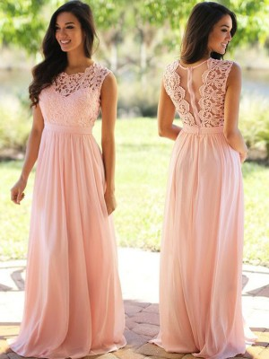 Fashion A-Line/Princess Sleeveless Applique Scoop Floor-Length Chiffon Dresses