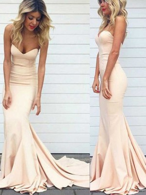 Stylish Trumpet/Mermaid Sleeveless Satin Sweetheart Sweep/Brush Train Dresses