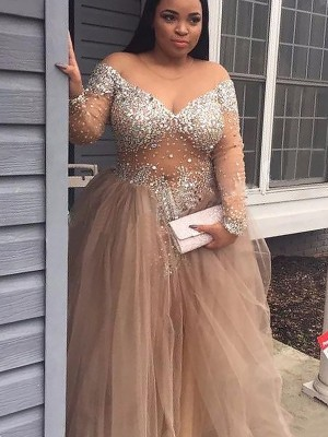 Fashion Ball Gown Sleeveless Sequin Off-the-Shoulder Tulle Floor-Length Dresses