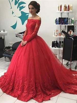 Fashion Ball Gown Long Sleeves Lace Off-the-Shoulder Tulle Sweep/Brush Train Dresses