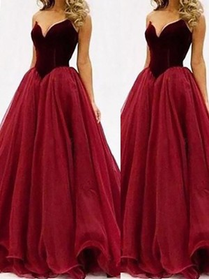 Fashion Ball Gown Sleeveless Tulle Sweetheart Floor-Length Dresses