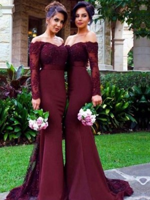 Stylish Trumpet/Mermaid Long Sleeves Stretch Crepe Off-the-Shoulder Sweep/Brush Train Bridesmaid Dresses