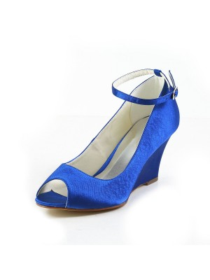 The Most Trendy Women's Satin Wedge Heel Wedges Peep Toe Wedges Shoes With Buckle