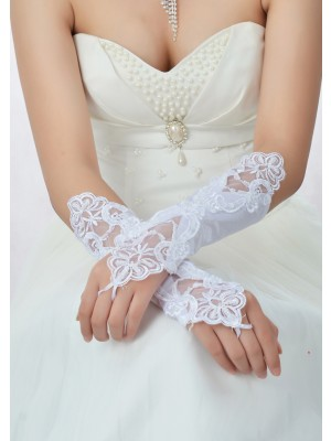 The Most Stylish Stunning Beading Lace Satin Wedding Gloves