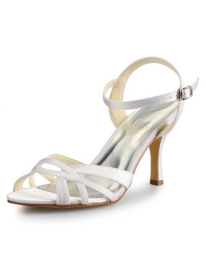 The Most Trendy Women's Stiletto Heel Peep Toe Satin With Buckle Sandal Dance Shoes