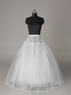 Ball Gown 3 Tier Floor Length Slip Tulle Netting Style Wedding Petticoats