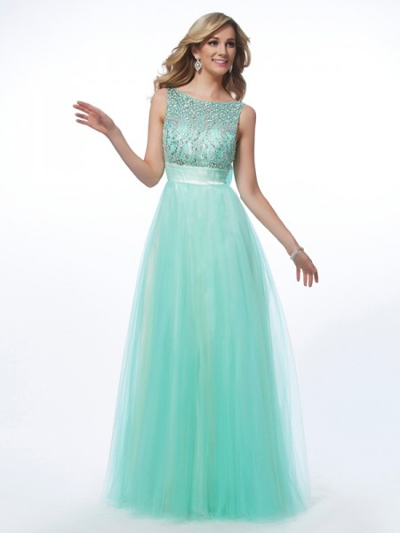 Fashion A-Line/Princess Sleeveless Beading Bateau Long Net Dresses