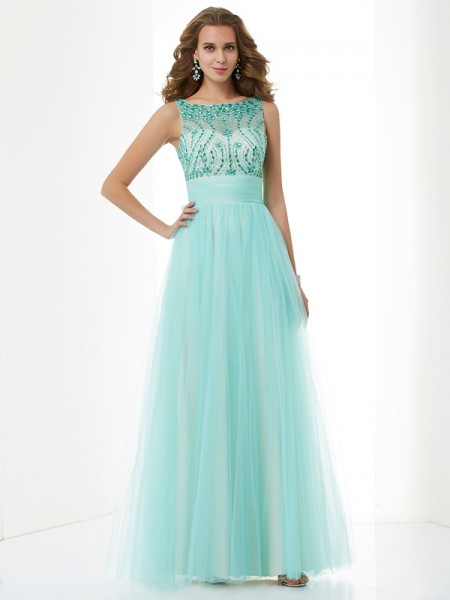 Stylish A-Line/Princess Sleeveless Beading Bateau Long Elastic Woven Satin Dresses