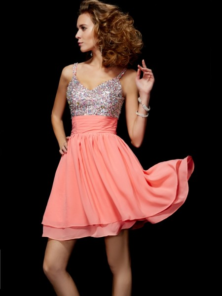 Fashion A-Line/Princess Sleeveless Beading V-neck Short Chiffon Homecoming Dresses