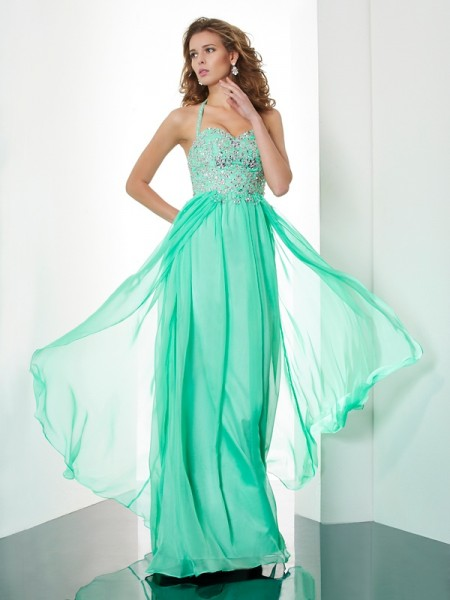 Stylish A-Line/Princess Sleeveless Beading Halter Applique Long Chiffon Dresses