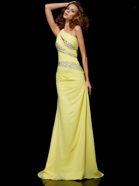 Fashion Sheath/Column Beading Sleeveless One-Shoulder Long Chiffon Dresses
