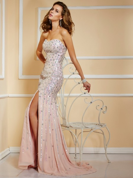 Fashion A-Line/Princess Strapless Sleeveless Beading Long Chiffon Dresses