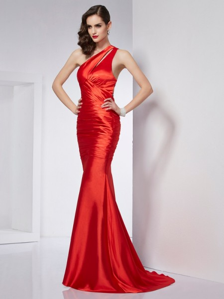 Stylish Sheath/Column Beading Long One-Shoulder Elastic Woven Satin Dresses
