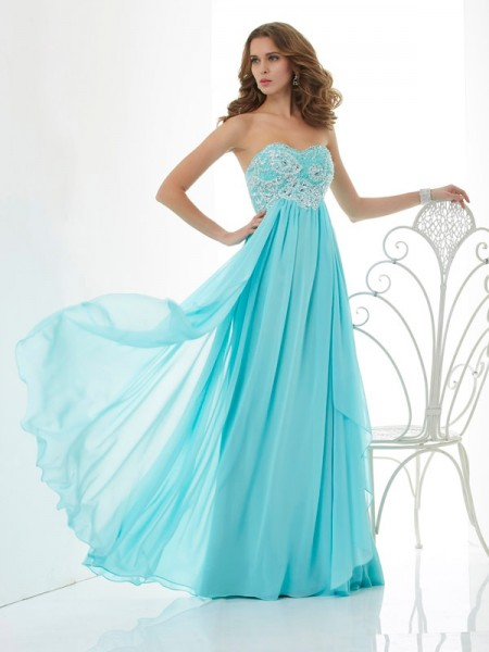 Stylish A-Line/Princess Sweetheart Sleeveless Beading Long Chiffon Dresses