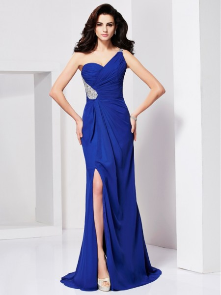 Fashion A-Line/Princess Beading Sleeveless One-Shoulder Pleats Long Chiffon Dresses